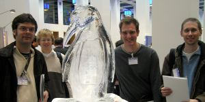 Sebastian Spät, Emanuel Indermühle, icy IBM penguin, Marcus and another ETHZ friend