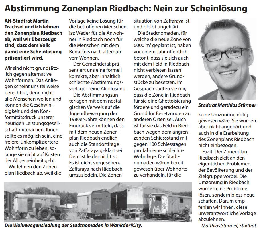 Abstimmungsempfehlung Zonenplan Riedbach