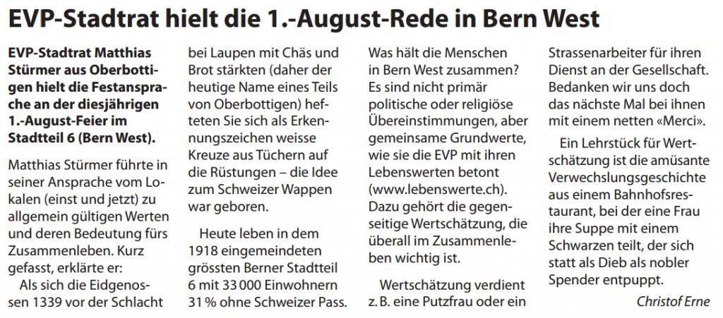 Zusammenfassung von Christof Erne im EVP Info 2013/3